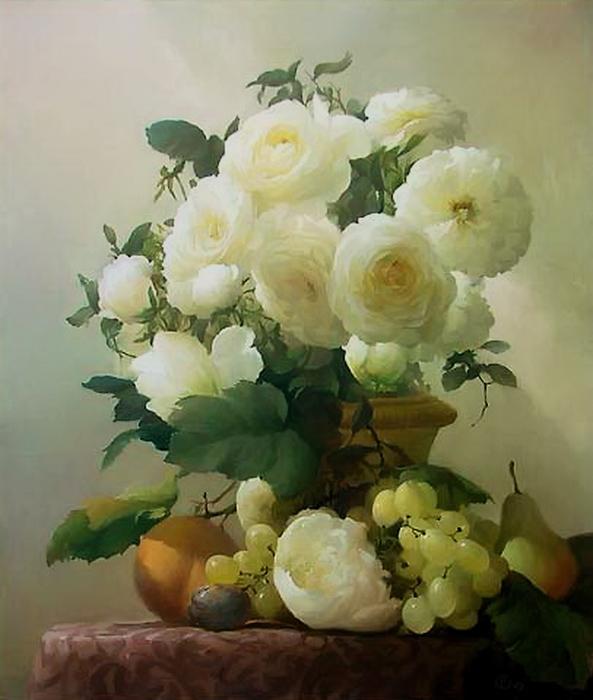 натюрморт бел розыХудожник Севрюков Дмитрий (593x700, 313Kb)
