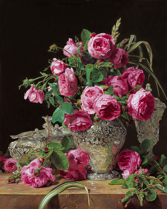 натюрморт розы Художник Ferdinand Georg Waldmuller (560x700, 515Kb)