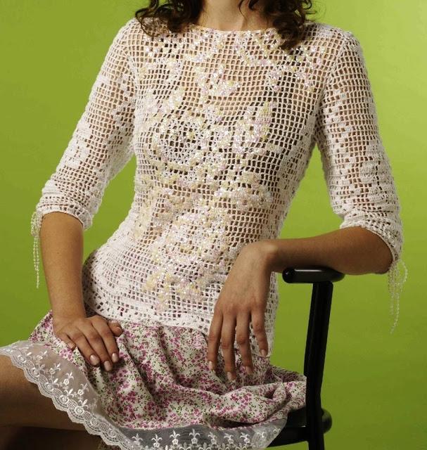 блузка вязание (607x640, 383Kb)