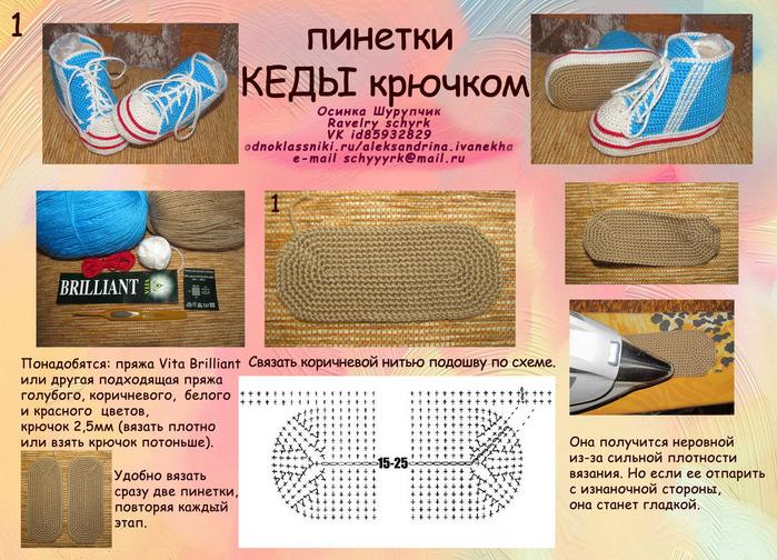 Женские кеды крючком схема и описание фото