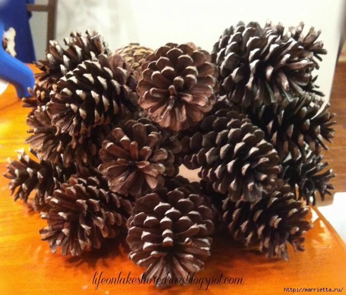 Зимняя классика.  Отбеленные сосновые шишки и другие идеи с шишками.