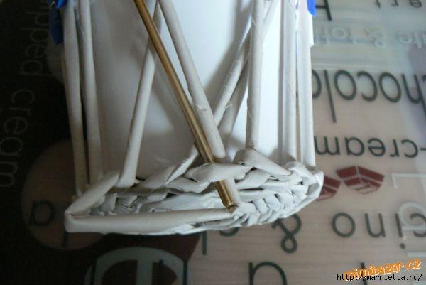 Плетение из газет. Винтажное кашпо из газетных трубочек. Идеи и мастер-класс (11) (600x401, 94Kb)