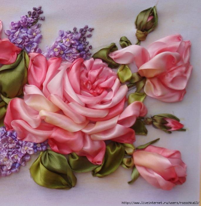 Вышивка лентами сирень с розой