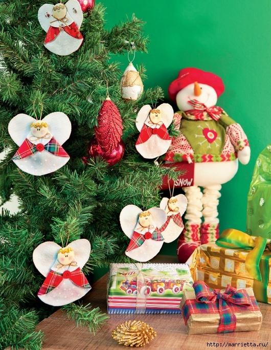 Рождественские АНГЕЛЫ - текстильные игрушки для елочки (1) (530x684, 365Kb)