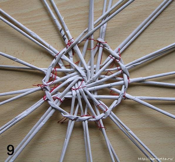 Плетение из газет. Интересный вариант плетния для панно или крышки корзинки (29) (596x550, 272Kb)