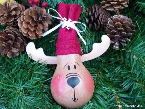 Как сделать новогоднюю игрушку из лампочки своими