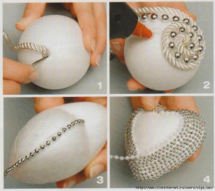 Елочные шары своими руками из пенопластовых шаров 59