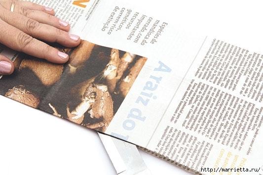 Плетение из газетных полосок. Вазочка для сухоцветов (2) (533x354, 125Kb)