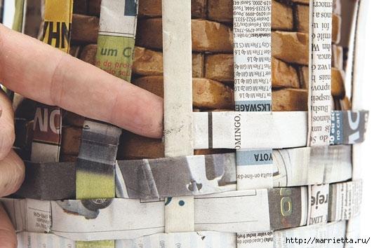 Плетение из газетных полосок. Вазочка для сухоцветов (12) (533x354, 138Kb)