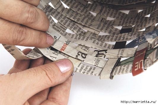 Плетение из газетных полосок. Вазочка для сухоцветов (16) (533x354, 126Kb)