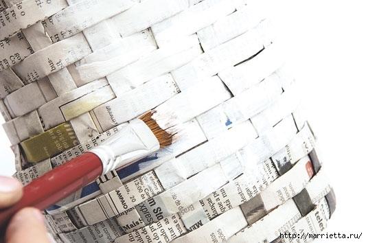 Плетение из газетных полосок. Вазочка для сухоцветов (18) (533x354, 118Kb)