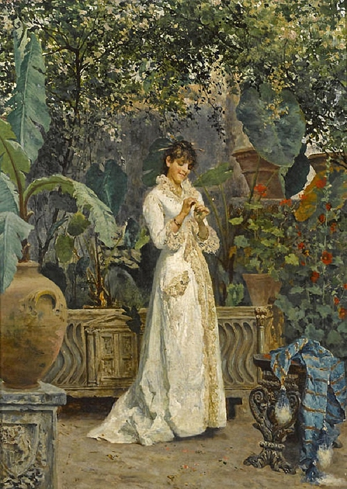 Cesare Tiratelli (1864-1933) - A lady in her garden (496x700, 335Kb)