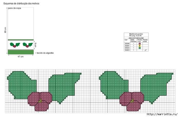Рождественская вышивка для скатерти и полотенца. Схемы (13) (700x456, 148Kb)