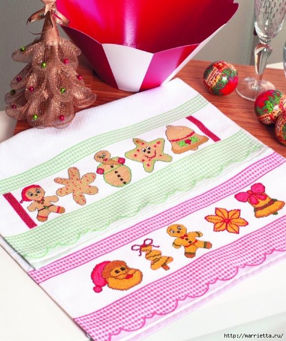 Рождественская вышивка для скатерти и полотенца. Схемы (14) (581x694, 296Kb)