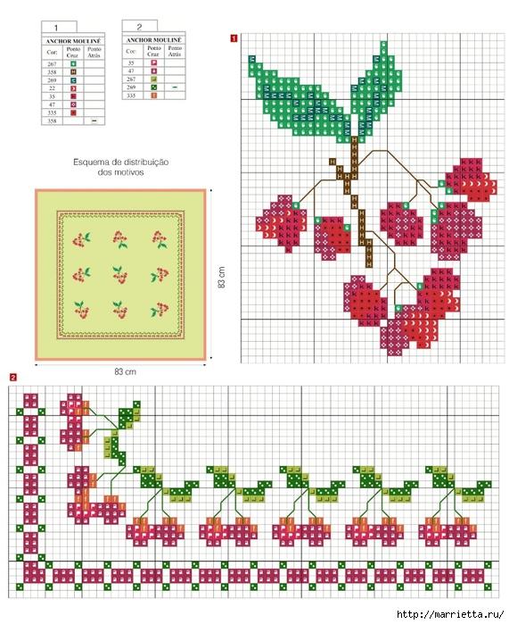 Рождественская вышивка для скатерти и полотенца. Схемы (18) (571x700, 308Kb)