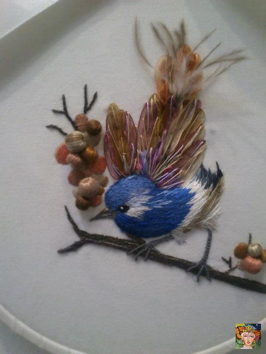 Объемная вышивка птица мастер класс