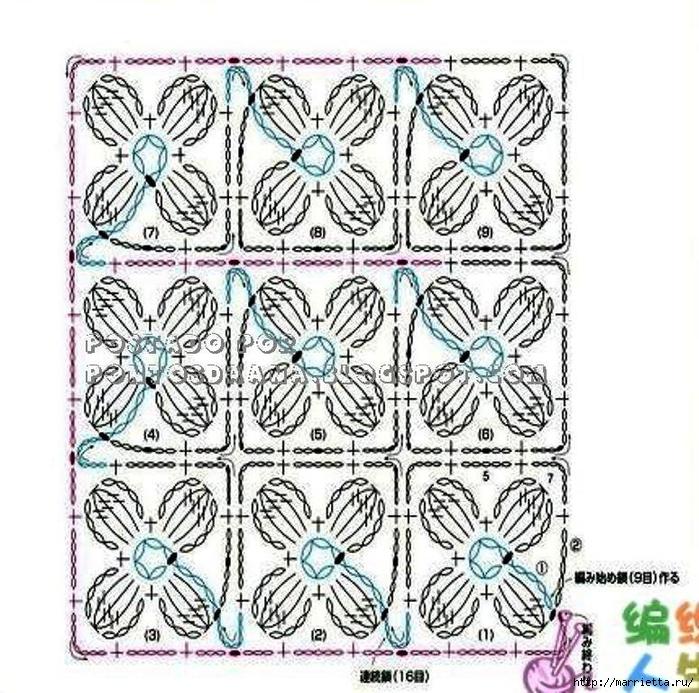 Вязание крючком. Модели со схемами (4) (700x693, 391Kb)