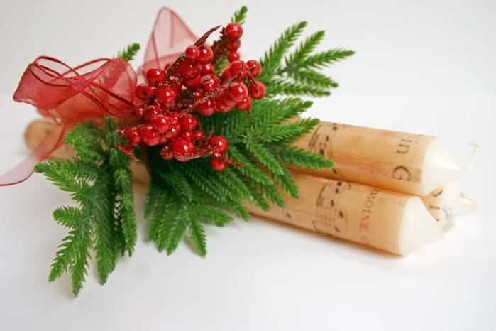 Декоративные новогодние свечи с переносом нотной распечатки (10) (700x466, 197Kb)