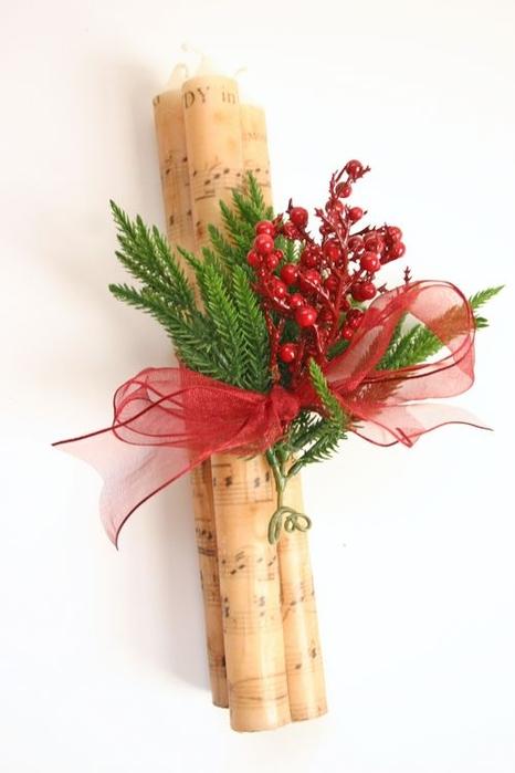 Декоративные новогодние свечи с переносом нотной распечатки (14) (466x700, 130Kb)