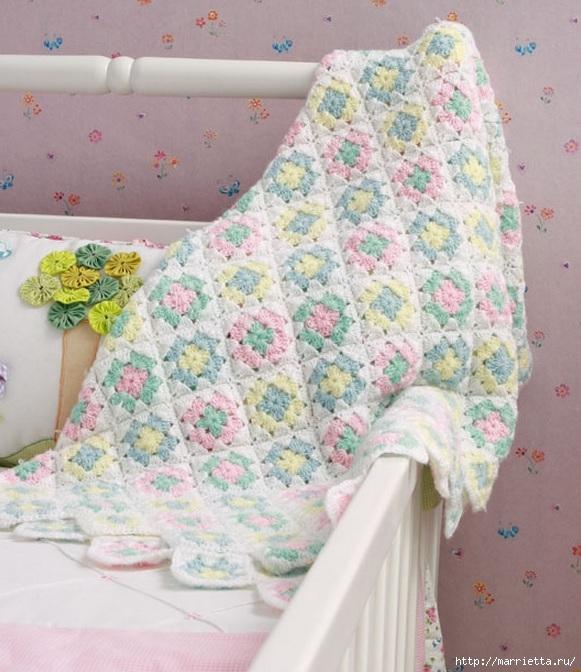 Детское одеялко крючком. Схема