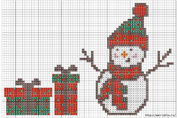 Новогодняя вышивка. Снеговик (3) (700x466, 298Kb)
