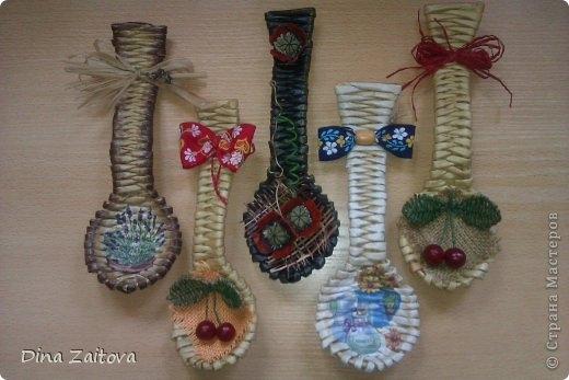 Плетение из газет. Декоративные ложки для украшения кухни (18) (520x347, 102Kb)