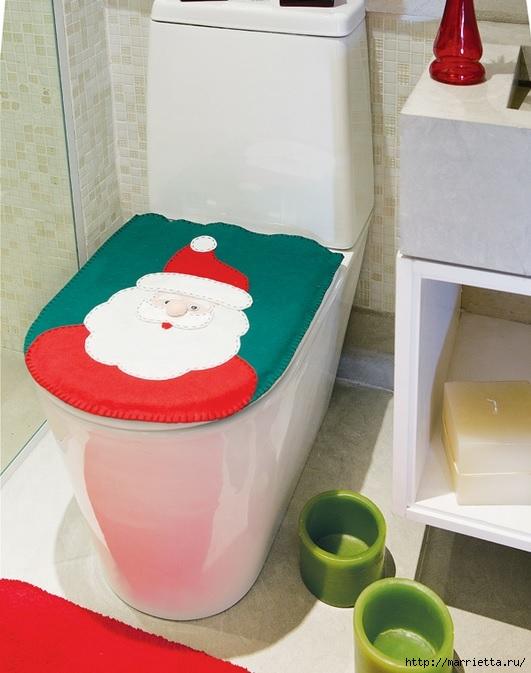 Дед Мороз на унитазе. Готовимся к празднику, шьем для ванной комнаты (1) (531x673, 186Kb)