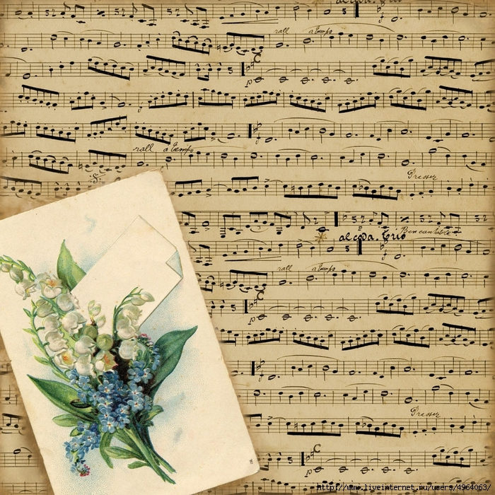 8x8 french music floral notecard paper ~ sepia ~ lilac-n-lavender (700x700, 508Kb)