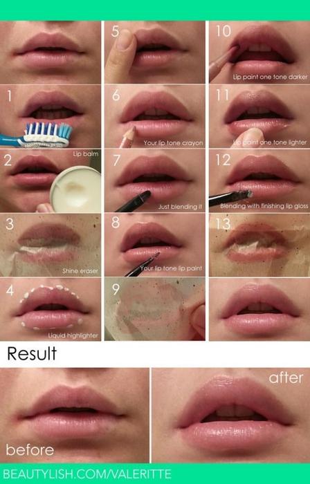 Увеличение губ пошаговое