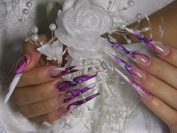 Фото дизайн нарощенных ногтей френч