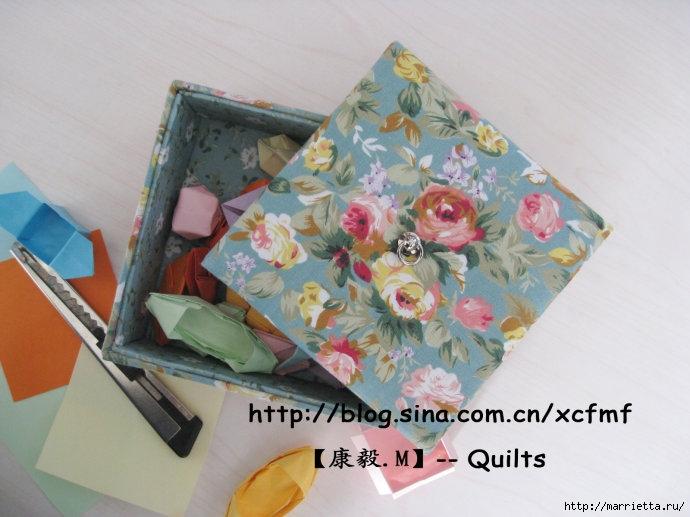 Мягкая коробочка из картона и ткани своими руками. Мастер-класс (12) (690x517, 194Kb)