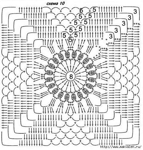 Вязание крючком ажурный квадрат схемы