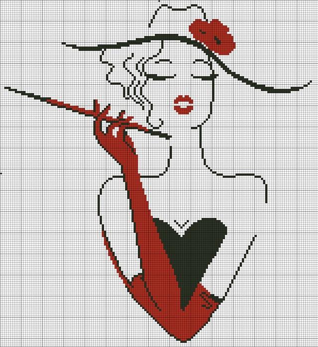 Женщина в шляпе вышивка крестом