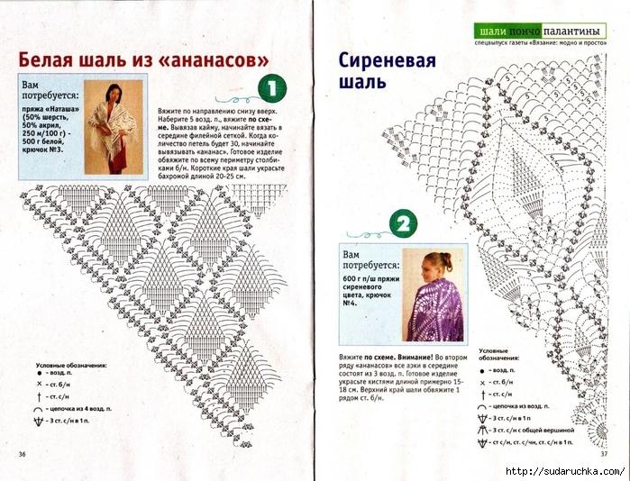 Модные шали вязанные с крючком