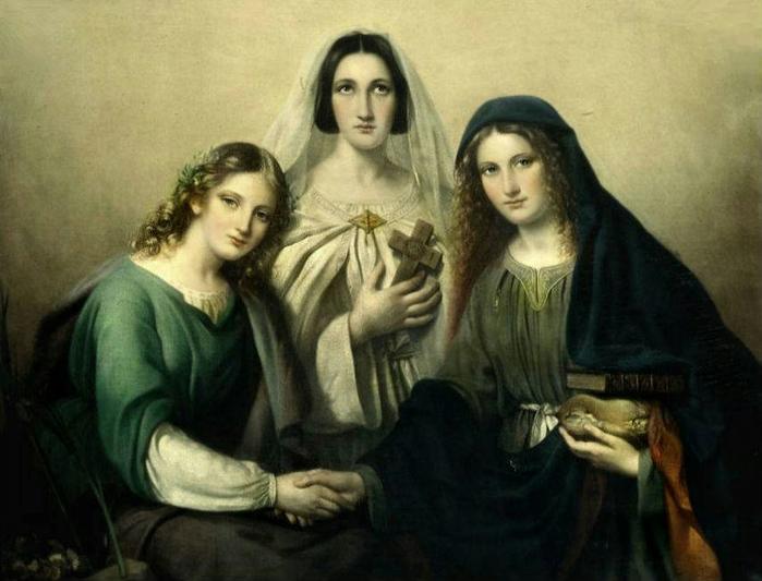 1 Faith, Hope and Charity - Marie Adelaide Kindt, (Belgian, 1804–1884) (700x533, 300Kb)