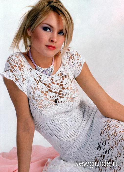 Красивое белое платье крючком 12