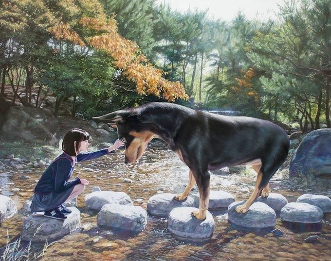 девушка с собакой Woo Jeong Jae 1 (680x535, 234Kb)
