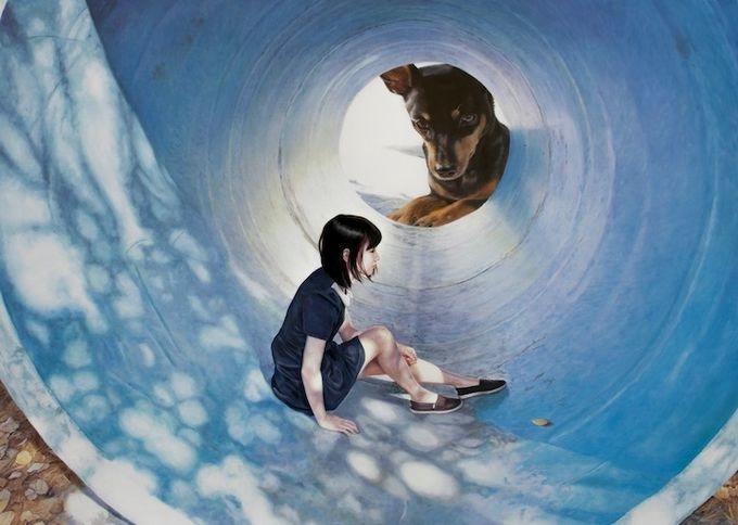 девушка с собакой Woo Jeong Jae 3 (680x484, 118Kb)