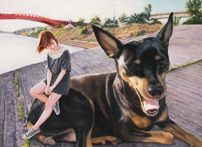 девушка с собакой Woo Jeong Jae 5 (680x494, 151Kb)