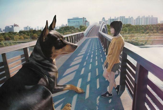 девушка с собакой Woo Jeong Jae 7 (680x460, 118Kb)