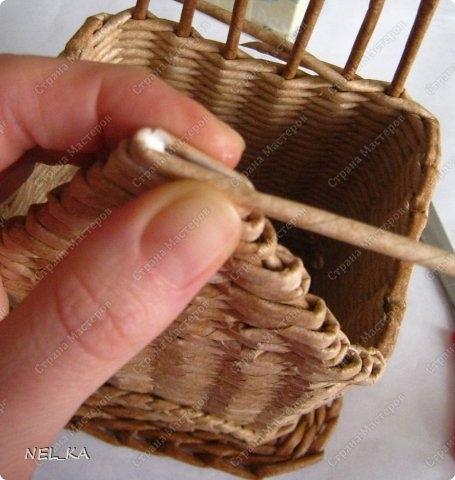 Плетение из газет. Чайный домик. Мастер-класс (22) (455x480, 116Kb)