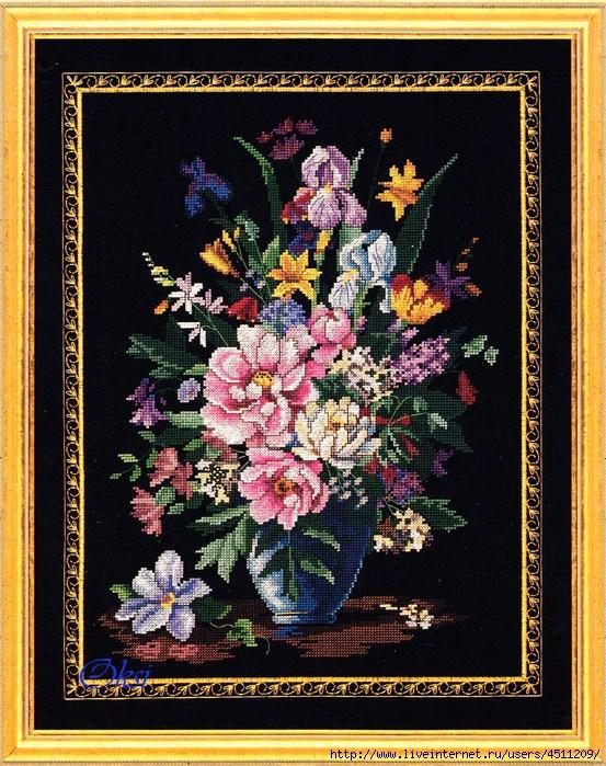 Букет цветов на черном фоне.