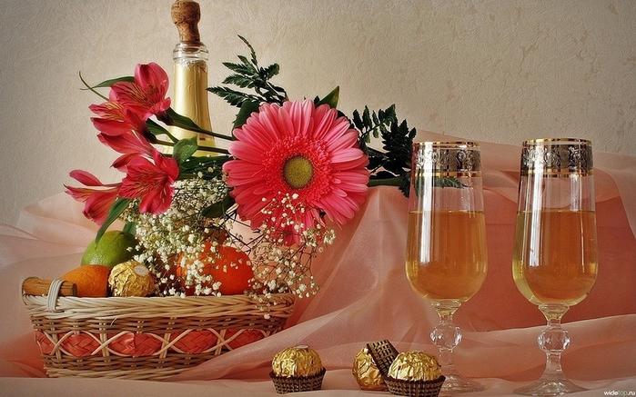 Фото цветы и шампанское картинки