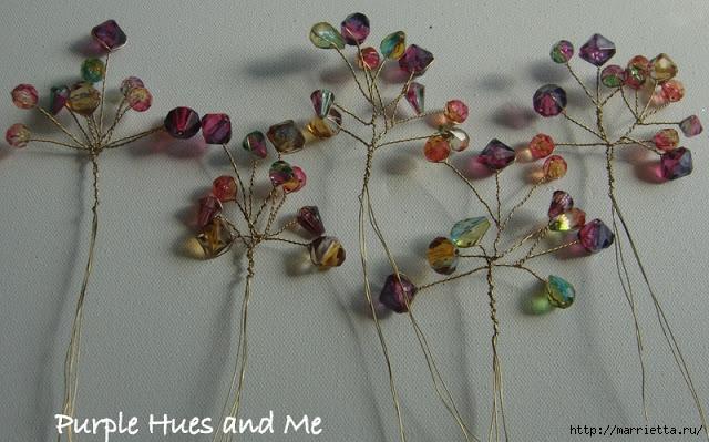Цветочное дерево на камне. Красивая композиция из бисера и проволоки (6) (640x399, 215Kb)