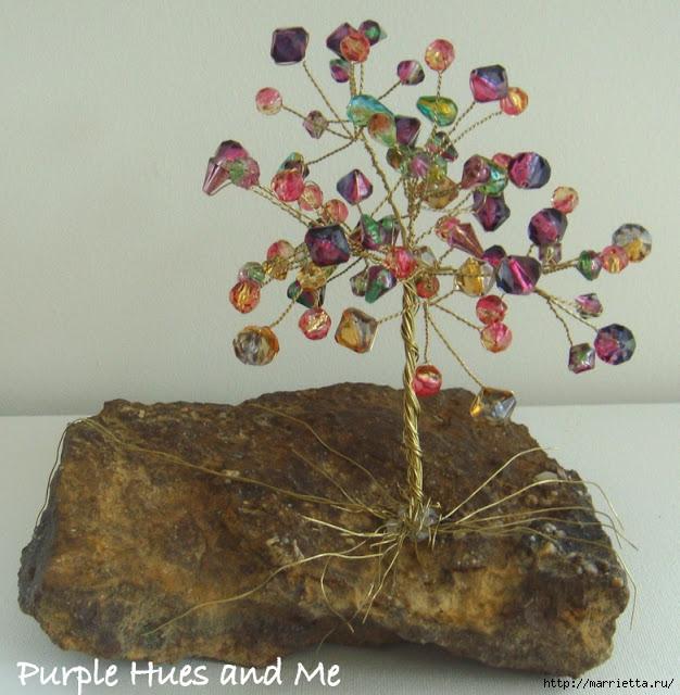 Цветочное дерево на камне.  Красивая композиция из бисера и проволоки (9) (626x640, 260Kb) .