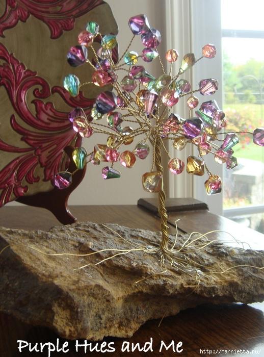 Цветочное дерево на камне.  Красивая композиция из бисера и проволоки (13) (518x700, 324Kb) .