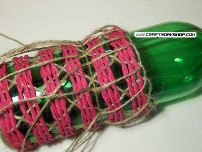 Оплетаем бутылку. Плетение джутом (19) (400x300, 85Kb)