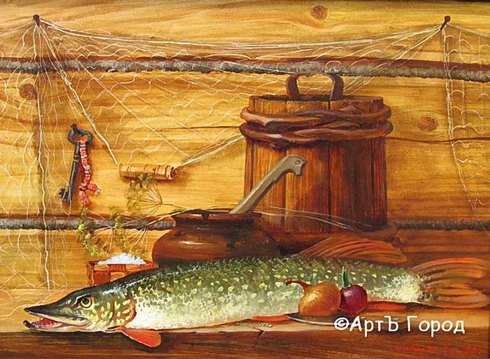Андреев А., картина Натюрморт с щукой (700x513, 342Kb)