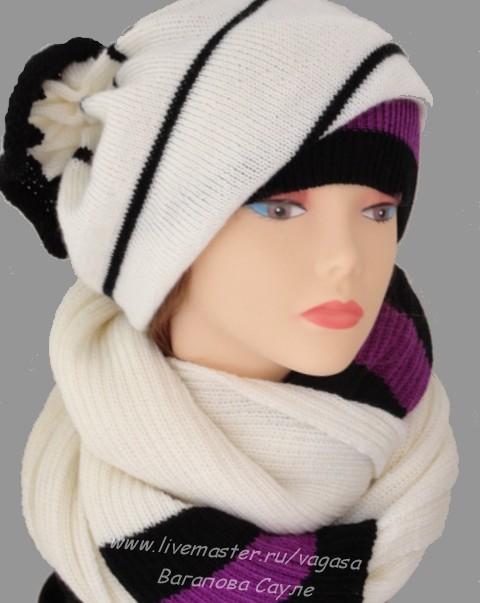 вязаный комплект шапка и шарф