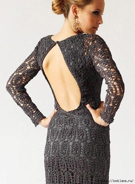 вязание крючок платье черное (465x633, 206Kb)